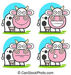 set of isolated cow in the meadow - vector illustration