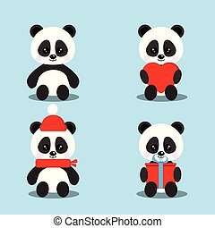 Set of isolated cute baby pandas bears in sitting pose with gift, heart, red scarf, hat.