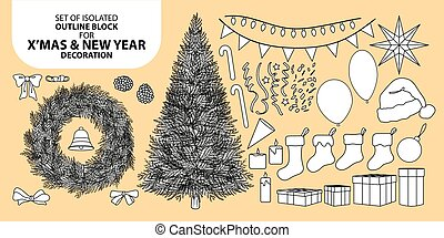 Set of isolated decoration block for Christmas and New year. Vector illustration in black outline and white plane.