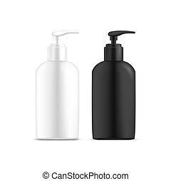 Set of isolated dispenser bottles with liquid soap