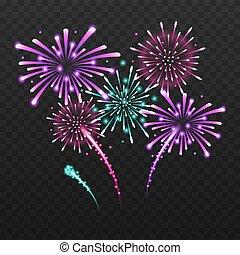 Set of isolated festive fireworks on a black background. Vector illustration