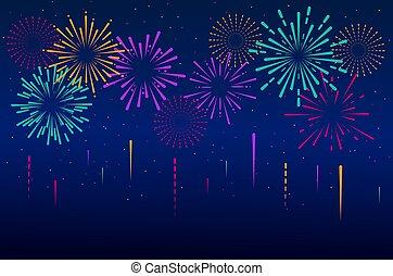 Set of isolated festive fireworks