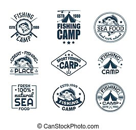 Set of isolated fishing sport logo with fish