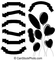 Set of isolated flat black ribbon banners and flying balloons of various shapes. On a white background. Suitable for design