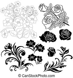 Set of isolated floral elements for design