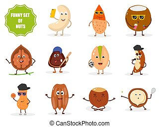Set of isolated funny nuts characters in cartoon style.