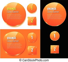 Set of isolated glass orange banners