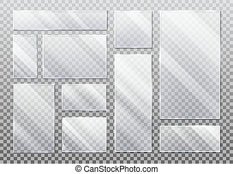 Set of isolated glass plate on transparent