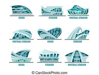 Set of isolated glassware stadiums for soccer