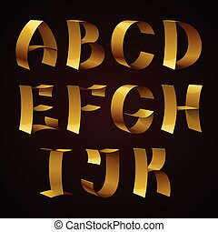 Set of isolated golden shiny ribbon font A-K letters