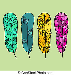 Set of isolated hand drawn feather
