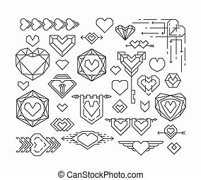 Set of isolated hearts and thin line design elements,...