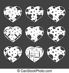 Set of isolated hearts with a white outline on a black background. With abstract pattern. Simple flat vector illustration. Suitable for greeting card, weddings, holidays, sites.