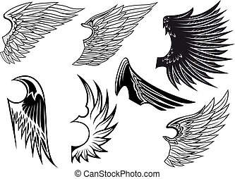 Set of isolated heraldic wings - Set of bird wings for...