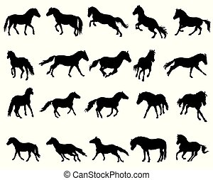 Set of isolated horses silhouettes-3