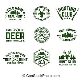 Set of isolated hunting emblems with deer and guns