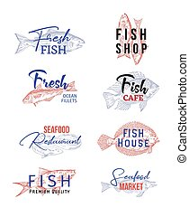Set of isolated icons with fish sketches. Food
