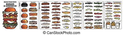 Set of isolated ingredients for build your own burger and sandwich. Cute hand drawn in colorful and black outline style on white background.
