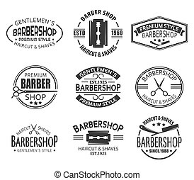 Set of isolated logo or signs for barber shop