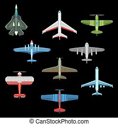 Set of isolated military airplanes or warplanes - Set of...