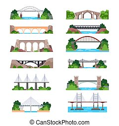 Set of isolated modern and vintage bridges