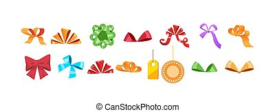 Set of isolated multicolored gift bows. vector illustration