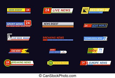 Set of isolated news message for tv, television