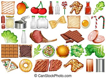 Set of isolated objects theme - food