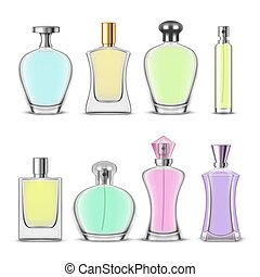 Set of isolated perfume bottle or cosmetic glass