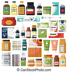 Set of isolated pharmacy items or medicine drugs,