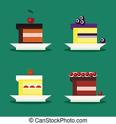 Set of isolated pieces of cake with cherry, blueberries, strawberries, cranberries on a white plate in cartoon flat style.