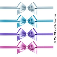 Set of isolated pink, white and blue photorealistic silk bows