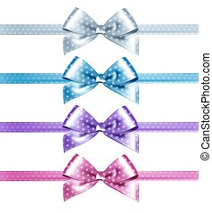 Set of isolated pink, white and blue photorealistic silk bows for your holiday design.