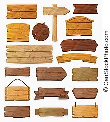 Set of isolated pointers signs or wooden planks
