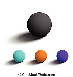 Set of isolated realistic 3D spheres in different colors.
