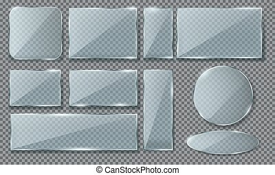 Set of isolated realistic blue glass, plaque