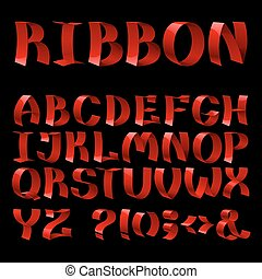 Set of isolated red color curled shiny ribbon font alphabet letters on black background