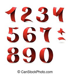 Set of isolated red ribbon numbers on white background