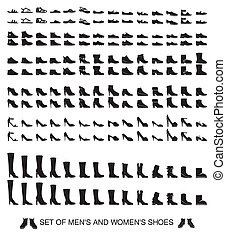 isolated silhouettes of men and women shoes