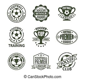 Set of isolated soccer or european football signs