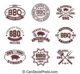 Set of isolated steakhouse signs or meat shop logo