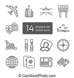Set of isolated thin lined outlined icons for airplane travel.