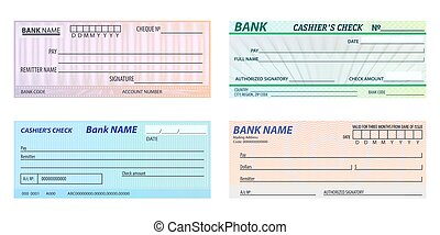 Set of isolated vector bank check, banking cheque