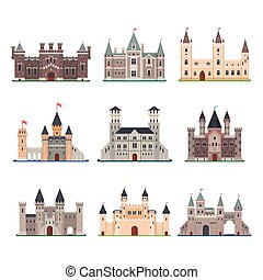 Set of isolated vector medieval castle with tower