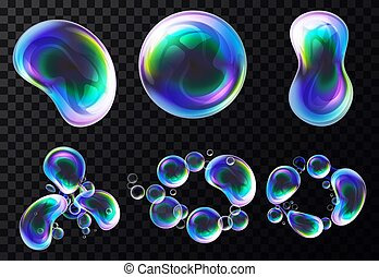Set of isolated vector realistic bubbles or soap