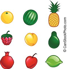 set of isolated vector-style fruits