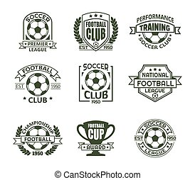 Set of isolated vintage soccer club signs
