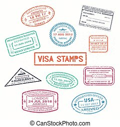 Set of isolated visa passport rubber stamps