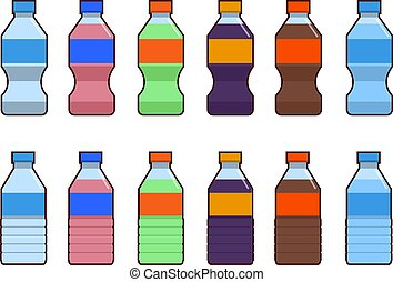Set of isolated water and soda bottle icon on white background. Flat vector illustration