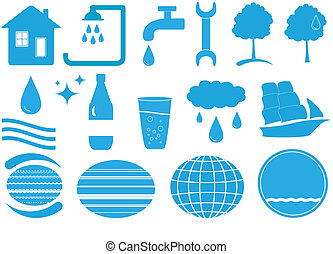 set of isolated water objects